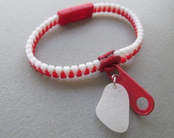 Zipper Bracelet Sea Glass Jewelry, Beach Glass Jewelry, Genuine Sea Glass