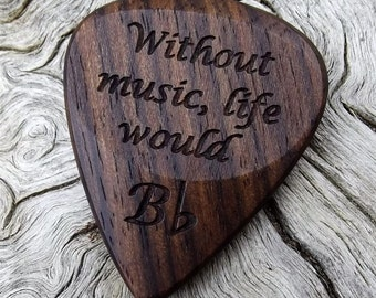 Wood Guitar Pick - Premium Quality - Handmade With Mun Ebony Wood - Laser Engraved Both Sides - Actual Pick Shown - Artisan Guitar Pick