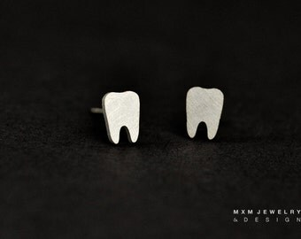 Tiny Sterling Silver Teeth Stud Earrings