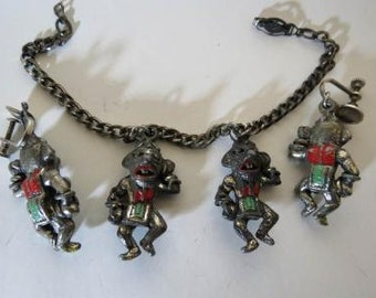 40's Vtg Cold Painted Tribal Ethnic Figurine Cold Painted Charm Bracelet Earring