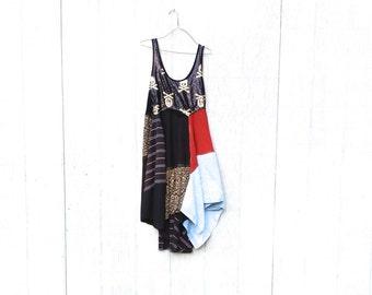 Funky Skull Halloween Lagenlook Dress / Eco Dress / Tattered Artsy Dress / Upcycled Clothing  by CreoleSha