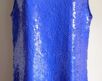 70s ANDRE LAUG couture royal blue sequin sleeveless top and trousers
