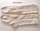 "Cotton socks hand knit.  Foot length 9"". Reinforced heel. Off -white color. Ready to ship"