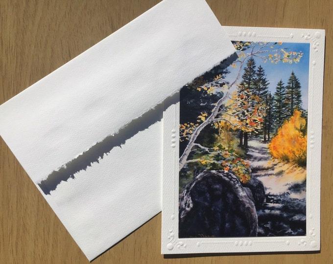 "Art greeting card SET of 5 Artist Christie Marie Elder, Fall Season leafs art Autumn tree Leaves Mountian Note Card + envelope ""Tahoe Trail"""
