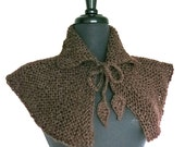 FREE US SHIPPING - Outlander Inspired Rustic Brown Color Wool Alpaca Yarn Claire Capelet Cape Collar Cowl Gaiter with Crochet Leaf Cord Ties
