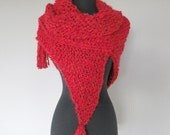 Valentine's Day Gift Dark Red Color Knitted Chunky Acrylic Yarn Shawl Wrap Stole with Fringes Tassels