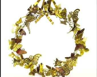 Butterflies, Moths, and Dragonflies . . . Vintage BRASS SUMMER WREATH  / Wall Decor . . . Dresden, Petite Choses . . .
