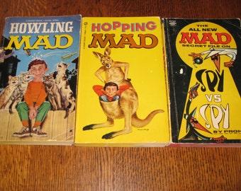 Mad Magazine Paperback Books Lot of 3 Alfred E Neuman Sixties Comics Cartoons Howling Hopping MAD Spy VS Spy 1960s Satire
