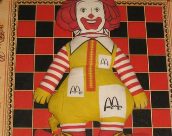 Ronald McDonald Doll Cotton Cloth Red Hair Striped Legs Arms Collectible Doll Sixties Seventies