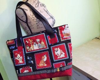 Large Tote Bag, Women,s Purse, Dog Novelty Print, Diaper Bag