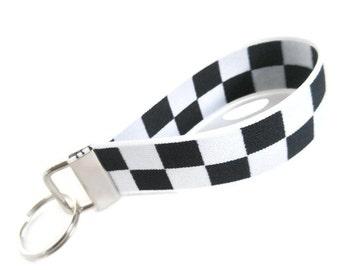 Black White Checked Stretchy Key Holder.  White and Black Key Fob.  Bracelet Style Stretch Key Holder Fob Organizer Pick Your Size