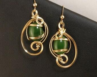 Jade Gemstone Gold Wire Sculpture Earrings, Genuine Green Jade 14k Gold Filled Earrings