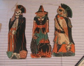 Vintage Halloween Decorations - Set of 3 - Witch - Skeleton - Owl Pirate - Mid Century -
