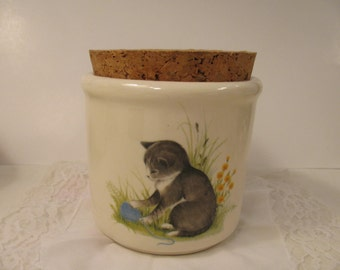 Vintage Canister or Crock w/ Cork Lid and Darling Kitten - Perfect for Storing Your Cat Food or Treats