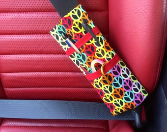 Peace Sign Print Bi-Fold Seat Belt Pocket Pouch