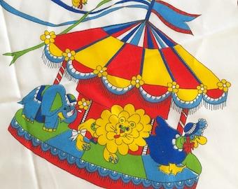 Fun Vintage Kids Merry Go Round Animals Novelty Children Cotton Print Fabric