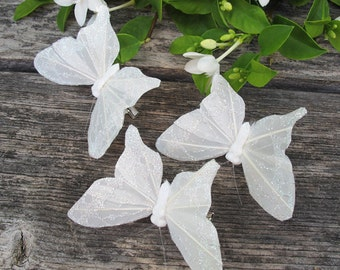 3 - White Feathers  with glitter Butterflies Hair Clips for weddings