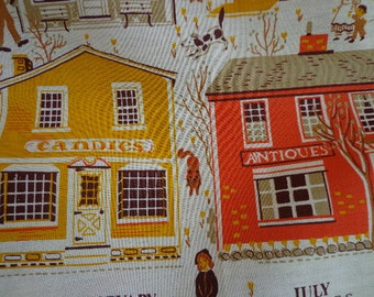 Vintage 1984 Calendar Tea Towel wiwth Village Store Front Theme