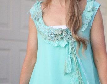 tattered vintage lace chiffon tunic top aqua, lace beaded long layered tunic top, turquoise lace tunic