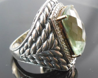 Sterling Silver 14K Gold Ring With Diamonds and Huge Green Tourmaline Stone - Size 8