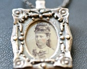Authentic tin type photograph frame necklace choose ONE or all  OOAK Blue Bayer Design NYC