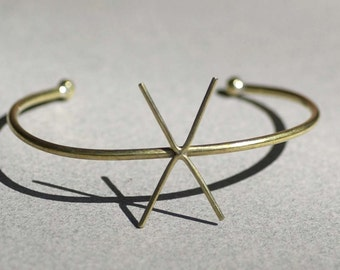 Solid Brass Cuff Bracelet with 4 Prongs Claw for Jewelry Making Supplies