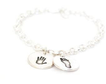 Personalized Handprint Charm, Footprint Bracelet, Handprint Charm Bracelet, Baby Footprint Bracelet, Charm Bracelet, new mom gift