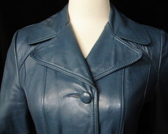 Leather Jacket - Blue Vintage - YUMMY Soft - Circa 1960's - 1970's