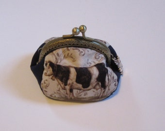 Metal Frame Cow Coin Purse, Pouch, Bags and Purses, Cow, Accessories, Coin Purse, Change Purse, Small coin purse, Kiss Lock purse, cow lover