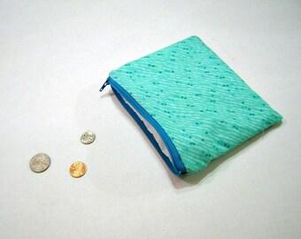 Aqua Zippered Coin Pouch