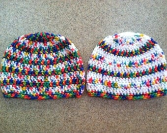 Crocheted Baby Boy or Girl Beanie Hat in Blue, Red, Green, Yellow and White