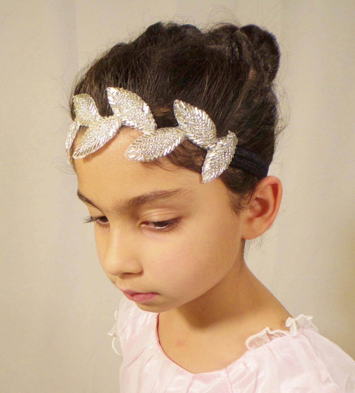 Flower Girl Headpieces: Flower Girl Headpiece Leaf Headpiece Girl Headband Bridal