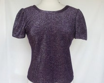 1970s Purple Silver Lurex Disco Top, V-Neck Back, Fluttery Sleeves, Small