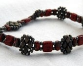 Superduo Cluster Bracelet - Champagne Pewter Picasso Red