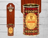 Wall Mount Bottle Opener with Rare Vintage Guinness Foreign Extra Stout Beer Can Cap Catcher - Bar Accessory Man Cave Gift
