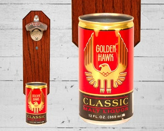 Bottle Opener with Vintage Wall Mounted Golden Hawk Beer Can Cap Catcher - Great Gift for Groomsmen Guys and Grads