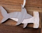 Laser etched wooden hammerhead shark ornament