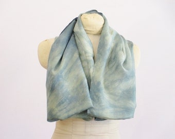 "Silk Infinity Scarf - Indigo Blue Willow Green - Natural Dye - Ready To Ship Gift - HAI011604 - approx. 20""x72"" (50 x 182 cm)"