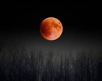 Blood Moon, Full Moon Print, Black, Orange, Pagan, Nature Photography, Super Moon