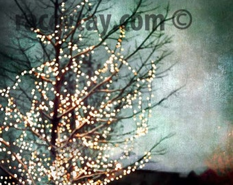 Christmas Art, Teal Wall Art, Modern, Tree, Nature Photography, Gold Fairy Light, Black, Bedroom Wall Art