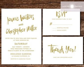 Wedding Invitation, Wedding Invite, Invitation Set, Rustic Invitation, Brush Art Invite, Calligraphy Invite, Modern Invitation,jadorepaperie
