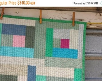 ON SALE Hand Dyed Log Cabin Quilt
