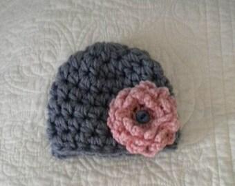 Crochet Baby Hat,Newborn Baby Girl Hat,Newborn Hat,Infant Hat,Baby Beanie,Baby Girl Beanie,Newborn Beanie,Flower Beanie,Newborn to Adult