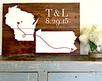 WEDDING Barn Wood States Sign- Bride and Grooms states- Reclaimed Barn Wood Sign- Planked Typography Sign-100 year old Barn Wood Wall Decor