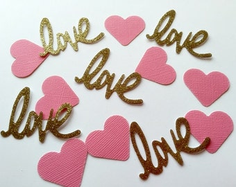 Pink and Gold LOVE Wedding table confetti- 100 Pieces