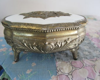 Vintage Metal Goldtone Jewelry Casket with Roses Japan