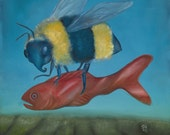 Original framed oil painting 16.5x16.5 surreal bee and fortune telling fish: Quarry