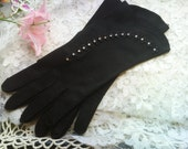 Free Shipping~Black with Rhinestone Ladies Gloves, Vintage, Eveningwear