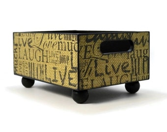 Wood storage bin decoupaged with hand stamped burlap pattern, small space living organizer for your rustic home accents