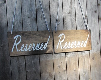 Reserved Wedding Signs. Set of 2 reserved Wedding Signs. Rustic Wedding Signs. Made To Order